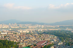Seul miasta uliczny widok od wierzchołka w lecie Zdjęcie Stock