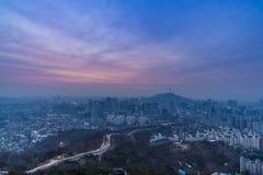 Seul miasto Południowy Korea na zimie Obraz Stock