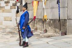 SEUL, PAŹDZIERNIK - 21, 2016: Pałac strażnik przy Seul pałac w Ko Obraz Royalty Free