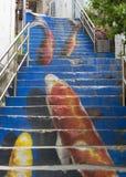 Seul Południowy Korea, Maj, - 6, 2015: Koja schody Ihwa Mur Obrazy Royalty Free