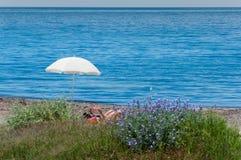 Seul sur la plage Photo stock