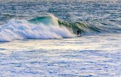 Seul surfer sur la plage Image stock