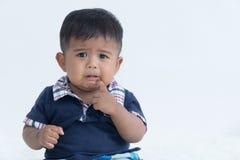 Seul triste asiatique de petit garçon images stock