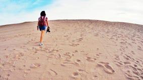Seule marche dans le désert Photographie stock