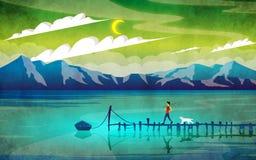 Seule pêche au lac Image stock