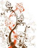 Seule silhouette d'abrégé sur lame florale de fleur Image libre de droits