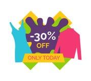 30 seulement aujourd'hui pour les vêtements femelles élégants illustration libre de droits