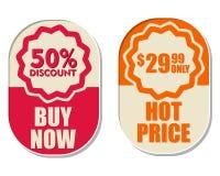 29,99 seulement, remise de 50 pour cent, acheter maintenant et prix chaud, elli deux Photo stock