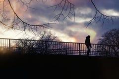 Seulement sur le pont en automne image libre de droits