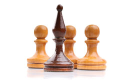 Seules pièces d'échecs en bois d'isolement sur le blanc images stock