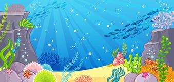 Seunterseite mit Meerespflanzeanlagen und einem Cockleshell Vektorillustration mit einem Hintergrund lizenzfreie abbildung