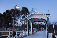 Seurasaari bridge decorated for Christmas in Helsinki, Finland Stock Image