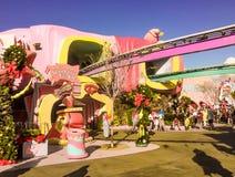 Seuss Land Universal Studios, Orlando, Florida. High in the Sky Seuss Trolley Ride at Seuss Land Universal Studios, Orlando, Florida royalty free stock images