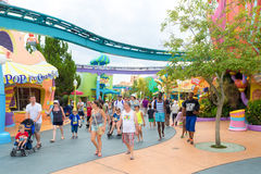The Seuss Landing Area at Universal Studios Islands of Adventure. ORLANDO,USA - AUGUST 24, 2014 : Visitors at the Seuss Landing Area inside Universal Studios Stock Image