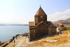 Sevan湖和修道院 免版税库存图片