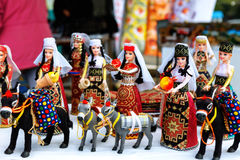 Sevan, Armenia - 25 September, 2016: Armenian ancient doll souvenir made from cloth fabric in national costumes sold in the market Royalty Free Stock Images