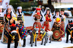 Sevan, Armenia - 25 September, 2016: Armenian ancient doll souvenir made from cloth fabric in national costumes sold in the market Royalty Free Stock Photography