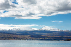 Sevan lake and white clouds blue sky on a sunny day, Armenia Royalty Free Stock Photos