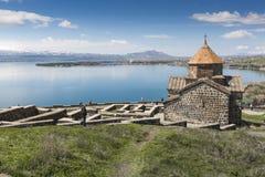 sevan sevanavank för 9th armeniska århundradelakekloster Arkivfoto