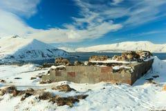 Sevanavank修道院在冬天 免版税库存照片