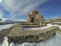Sevanavank修道院在冬天 免版税库存图片