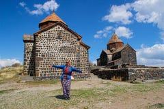 Sevanavank塞万修道院是在塞凡湖岸的一个半岛的修道院复合体位于格加尔库尼克省地区  库存照片