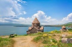 Sevanavank是半岛的修道院复合体塞凡湖西北岸位于胳膊格加尔库尼克省  库存照片