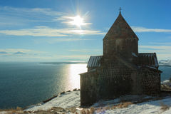 Sevanavank kloster i vinter Arkivbilder