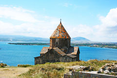 Sevanavank and lake Sevan stock photos