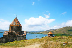 Sevanavank and lake Sevan Royalty Free Stock Photos