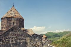 Sevanavank is a monastery on the northwestern shore of Lake Sevan, Gegharkunik province, Armenia. The complex of buildings is located on the same peninsula Royalty Free Stock Image