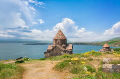 Sevanavank is a monastic complex located on a peninsula at the northwestern shore of Lake Sevan in the Gegharkunik Province of Arm. Enia. View, on Lake Sevan Stock Photos