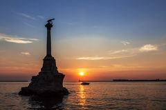 The Sevastopol Bay and the monument to the scuttled ships at sunset, Crimea Royalty Free Stock Image