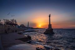 Free Sevastopol City Symbol At Sunset - Monument To The Sunken Ships, Famous Sevastopol Historic Statue Memorial Stock Image - 143104741