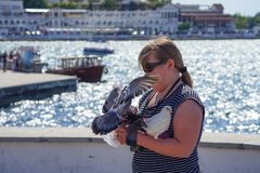 A young girl feeding pigeons on the waterfront of the city royalty free stock photography