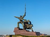 Monument to feat of defenders of Sevastopol during second world war Sailor and soldier on hill of Cape Crystal. Sevastopol, Crimea, Russia — October 08 royalty free stock image