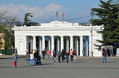 Sevastopol, Crimea, Russia, May, 08, 2017.  People walking near colonnade before descending to the Count`s quay from the side of N. Sevastopol, Crimea, Russia Royalty Free Stock Photos