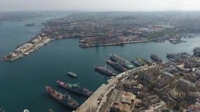 Sea port in Sevastopol,Crimea. the General plan,aerial view