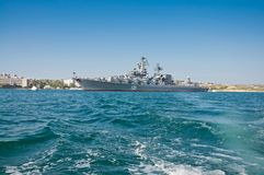 Missile Cruiser `Moskva` -cruisers in the Russian Navy of The Black Sea Fleet of the Russian Navy. SEVASTOPOL, CRIMEA, UKRAINE - MAY 06, 2013: Missile cruiser ` Stock Photos