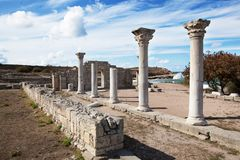 SEVASTOPOL, CRIMEIA - OUTUBRO, 07 2017: Museu-reserva histórica e arqueológico Chersonese Taurian imagens de stock