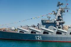 SEVASTOPOL KRIM - MAJ 9: Ståta av krigsskepp Arkivbilder