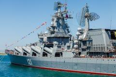 SEVASTOPOL KRIM - MAJ 9: Ståta av krigsskepp Royaltyfria Foton