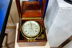 SEVASTOPOL, RUSSIA - MARCH 19, 2011: Old marine chronometer in Sevastopol museum. National Museum of heroic defense and liberation of Sevastopol is primarily a Stock Photo