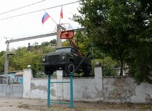 Monument to the aerial platform on the basis of the GAZ-53 in Sevastopol. Stock Image