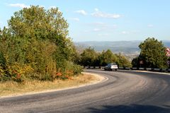 Steep road turn on the outskirts of Sevastopol. Stock Photography