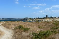 View of the Quarantine bay from the ruins of Chersonesos. SEVASTOPOL, RUSSIA - SEPTEMBER 17, 2014: View of the Quarantine bay from the ruins of Chersonesos Stock Photos
