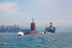 SEVASTOPOL UKRAINA -- MAJ 12: Fira 230 år av den Black Sea flottan på Maj 12, 2013 Arkivbild
