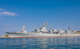 The military ship in naval bay of Sevastopol Stock Photo