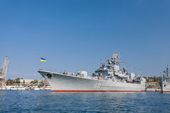 The military ship in naval bay of Sevastopol Royalty Free Stock Images
