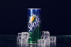 SEVASTOPOL, UKRAINE-JULY 7, 2015: Can of Coca Cola company soft drink Sprite on ice. It was introduced in the United States in 196. 1. This was Coke's response royalty free stock images